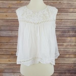 Free People One Cropped White Lace Open Back Top